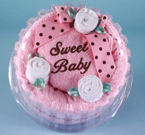 Sweet Baby Girl Hooded Towel Cake Gift Set PINK
