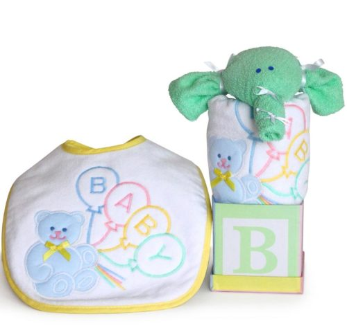Baby Bib & Elephant Bath Cloth Gender Neutral Gift Set
