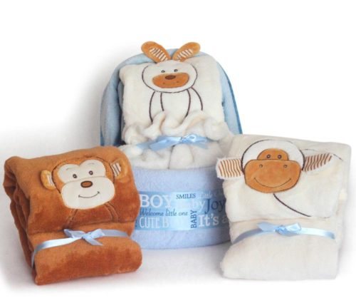 Animal Blanket Diaper Cradle Baby Boy Gift Set - Blue