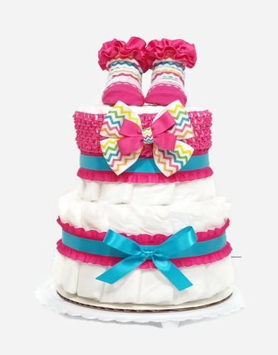 Mini Baby Girl Diaper Cake Hot Pink Turquoise Shower Centerpiece