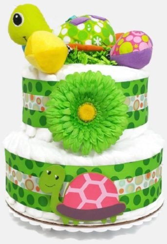 Gender Neutral Turtle Diaper Cake 2 Tier Baby Shower Centerpiece