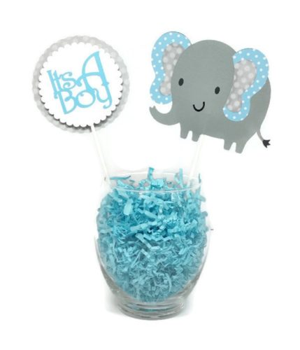 Baby Boy Elephant Centerpiece Sticks Blue & Gray Polka Dot Baby Shower Decor