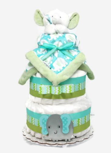 Baby Boy Elephant Diaper Cake With Security Blanket Green & Aqua Blue
