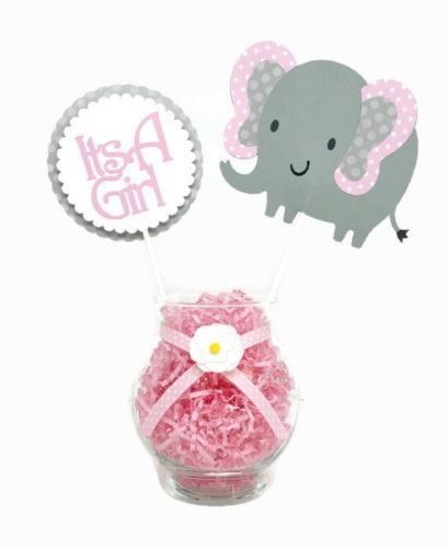 Baby Girl Elephant Centerpiece Sticks Pink & Gray Polka Dot Baby Shower Decor