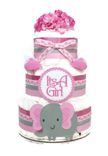 Baby Girl Elephant Diaper Cake Centerpiece Pink Plaid With Flowers & Booties