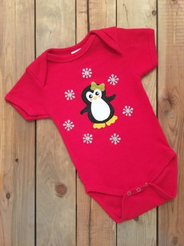 Christmas Penguin Cotton Baby Girl Onesie Bodysuit Holiday Outfit