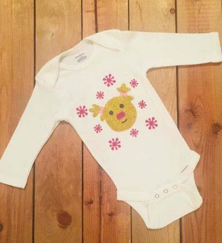 Christmas Reindeer Cotton Baby Girl Onesie Bodysuit Holiday Outfit