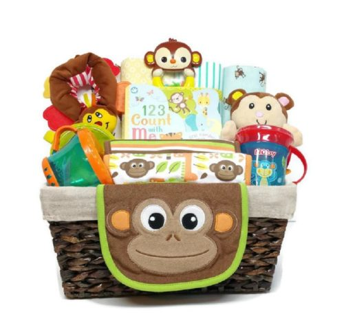 Happy Monkey Gender Neutral Baby Gift Basket