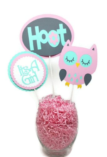 Its A Girl Hoot Owl Centerpiece Sticks Pink, Gray & Mint Green Baby Shower Party Decor