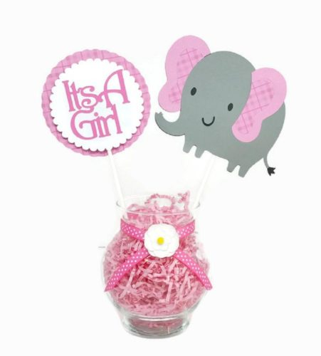 Little Elephant Centerpiece Sticks Pink Plaid Girl Baby Shower Party Decor