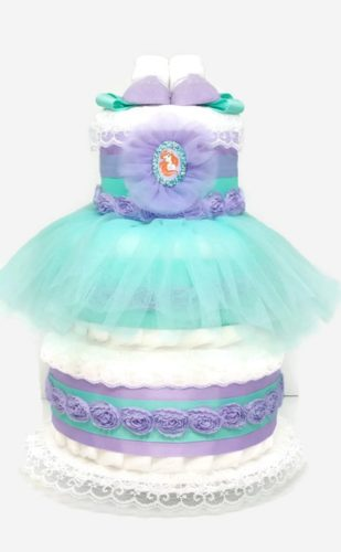 Little Mermaid Baby Girl Diaper Cake Shower Centerpiece