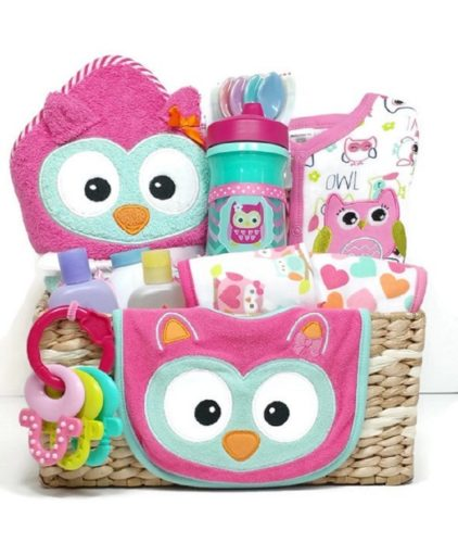 What A Hoot Owl Baby Girl Gift Basket