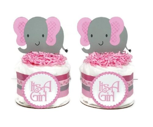 Baby Its A Girl Mini Elephant Diaper Cake Set Pink Plaid Baby Shower Centerpieces