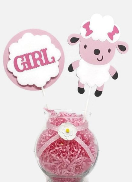 Baby Girl Pink and White Sheep Lamb Cake Toppers Baby Shower Centerpiece Sticks