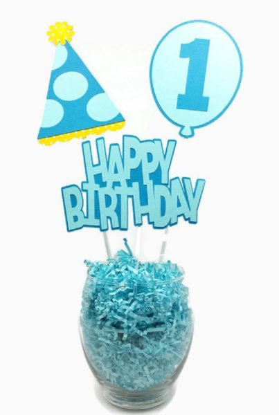 Baby Boy First Birthday Centerpiece Sticks Cake Toppers Blue Party Hat