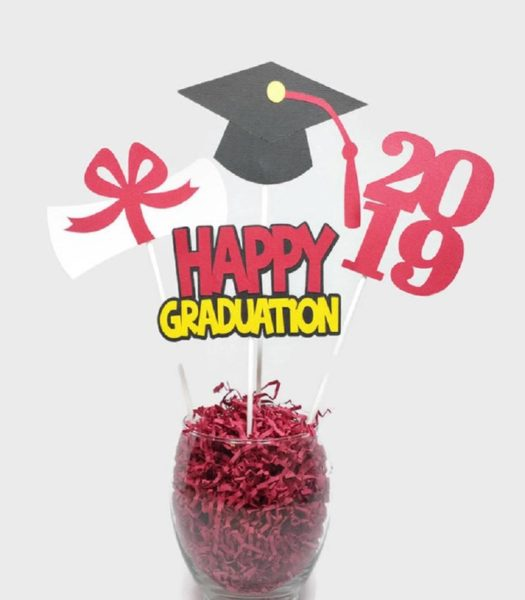 Class of 2019 Graduation Party Decorations Centerpiece Sticks Cake Toppers