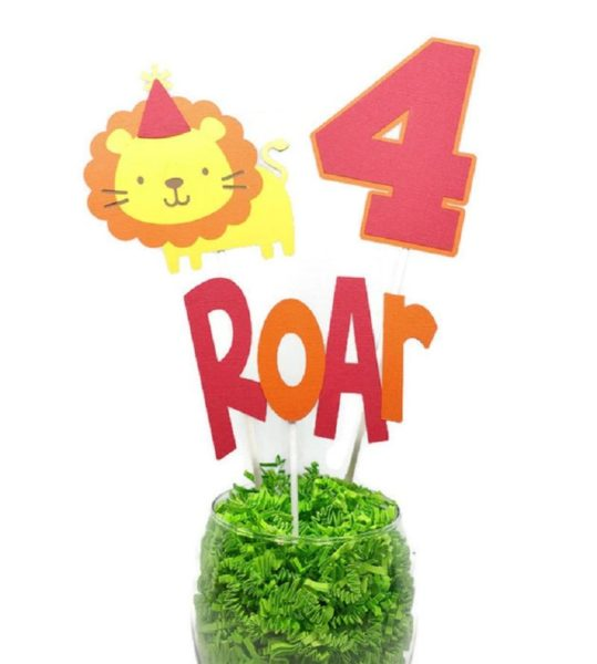 Roar Jungle Lion Boy Kids Birthday Centerpiece Sticks Cake Toppers with Age