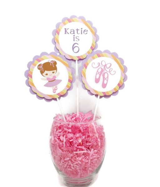 Girl Ballerina Birthday Cake Toppers Ballerina Centerpiece Sticks Ballet Theme Girl Birthday Party Decorations Personalized Name & Age