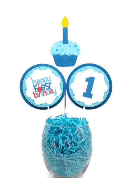 Incredible Happy First Birthday Boy Centerpiece Sticks Birthday Party Funny Birthday Cards Online Alyptdamsfinfo