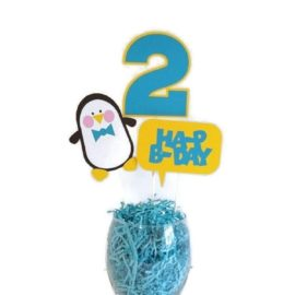 Boy Penguin Birthday Party Cake Toppers Centerpiece Sticks Boy Birthday Party Decorations with Age - Turquoise Blue & Yellow