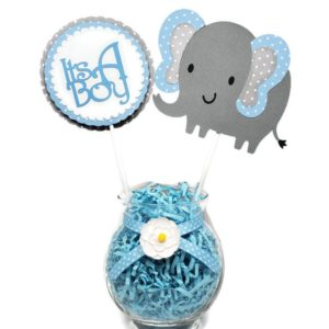 Blue Polka Dot Elephant Boy centerpiece Sticks 1