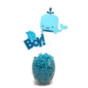 Baby Boy Whale Centerpiece Sticks Cake Toppers