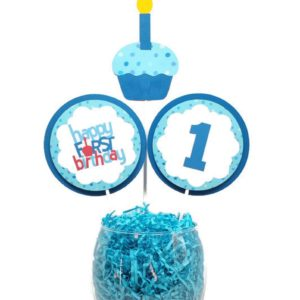 First Birthday Boy Centerpiece Sticks Cake Toppers Blue Cupcake