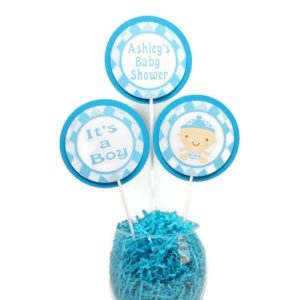 Blue Argyle Baby Shower Centerpiece Sticks Cake Toppers Personalized