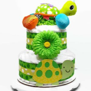 Gender Neutral Plush Turtle Diaper Cake