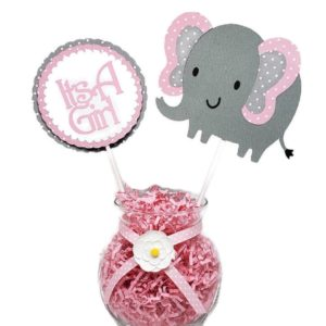 Girl pink polka dot Elephant centerpiece stick 1