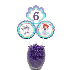 Mermaid Centerpiece Sticks Cake Toppers Lavender Mint Green