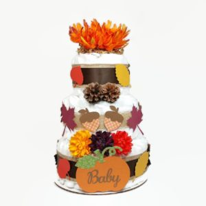 Orange Fall Diaper Cake