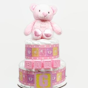 Pink Plush Teddy Bear Baby Girl Diaper Cake
