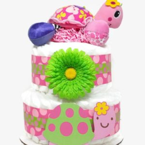 Pink Turtle Baby Girl Diaper Cake Shower Centerpiece