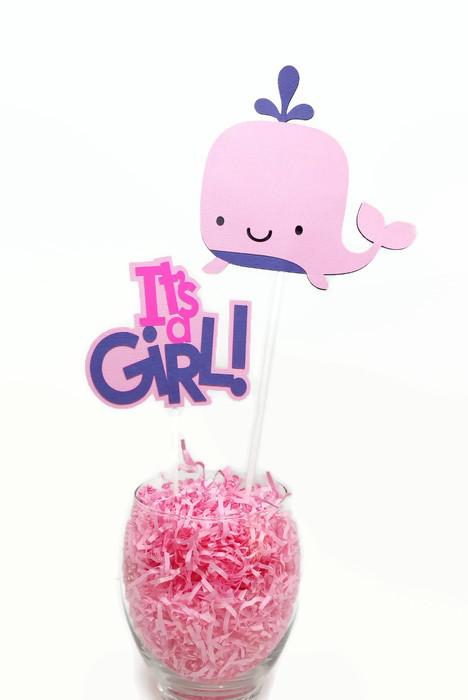 Baby Girl Whale Centerpiece Sticks Cake Toppers