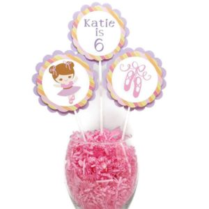 Girl Ballerina Birthday Cake Toppers Centerpiece Sticks Personalized