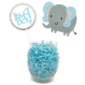Baby Boy Blue Elephant Polka Dot Cake Toppers Centerpiece Sticks