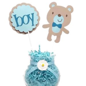 Baby Boy Teddy Bear Cake Toppers Centerpiece Sticks BLUE
