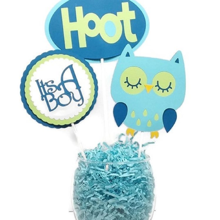 Baby Boy Blue Owl Navy & Green Cake Toppers Centerpiece Sticks