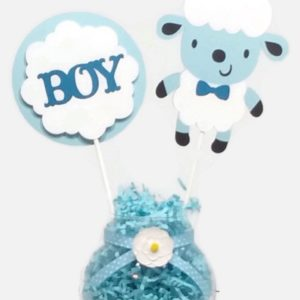 Baby Boy Sheep Lamb Cake Toppers Centerpiece Sticks