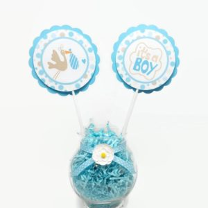 Stork Bundle Baby Boy Shower Centerpiece Sticks Cake Toppers