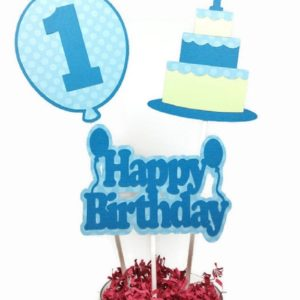 Boy First Birthday Cake Toppers Centerpiece Sticks - Blue & Green Cake