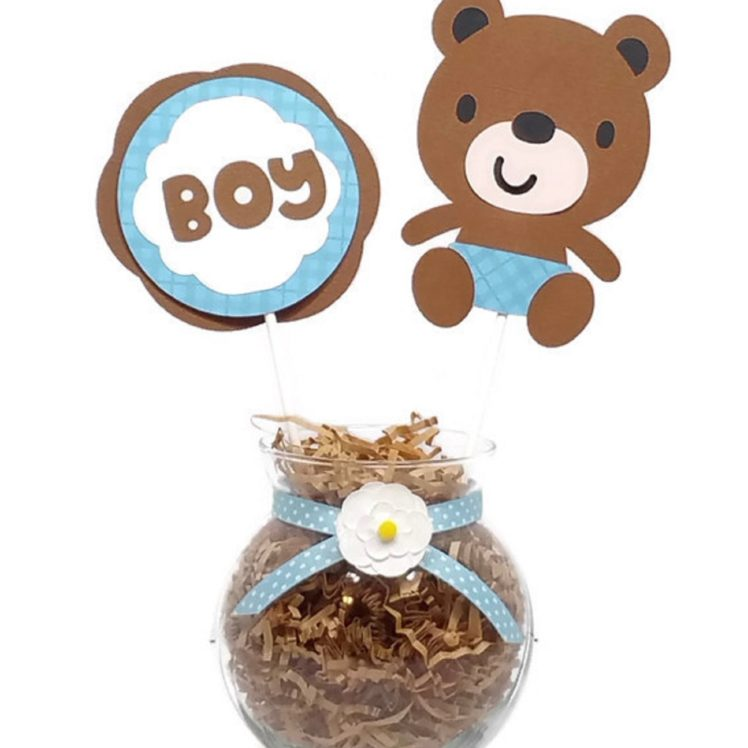 Baby Boy Bear Baby Shower Centerpiece Sticks Cake Toppers