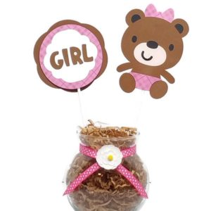 Baby Girl Bear Baby Shower Centerpiece Sticks Cake Toppers