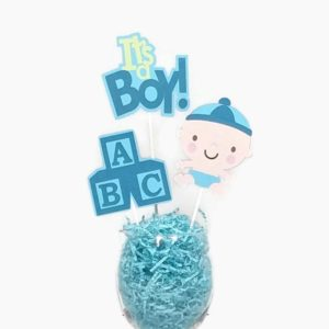 Baby Boy Centerpiece Sticks Cake Toppers with Baby Blocks Blue & Green