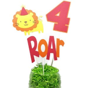 Jungle Lion Boy Birthday Centerpiece Sticks Cake Toppers Personalized