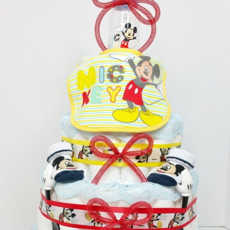 Mickey Mouse Baby Boy Diaper Cake with Feeding Essentials