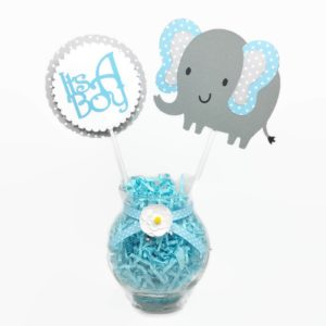 Baby Boy Elephant Centerpiece Sticks Blue Polka Dot Cake Toppers