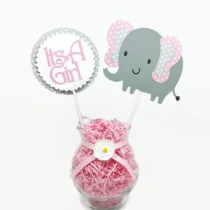 Baby Girl Elephant Centerpiece Sticks Pink Polka Dot Cake Toppers