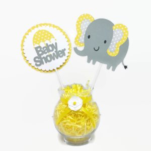 Gender Neutral Baby Elephant Centerpiece Sticks Yellow Polka Dot Cake Toppers